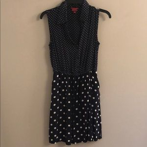 Navy dot dress with pockets
